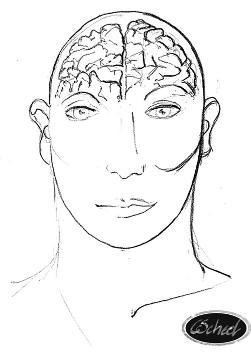 portrait with brain hjernen tegning